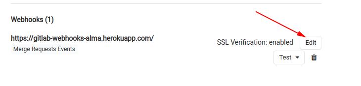 Кнопка редактирования Gitlab webhook