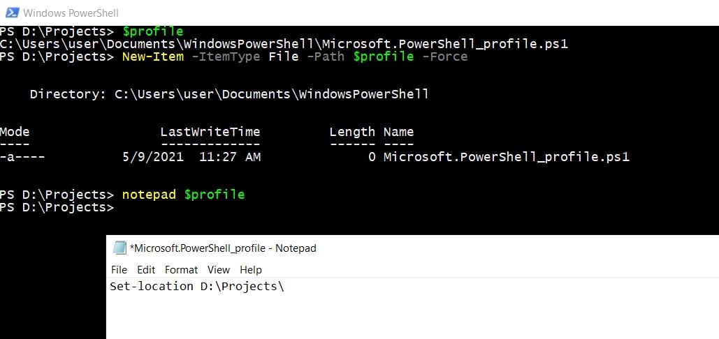 PowerShell profile - Default Directory